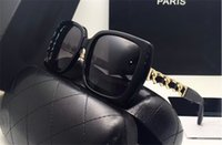 Wholesale Metal Chain Sunglasses - new women brand desinger sunglasses fashion women design 5208 square frame metal chain legs with leather sunglasses UV400 lens