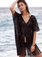 Wholesale Ladies Summer Lace Cardigan - 2017 New Fashion Summer Ladies Fringed Kimono Cardigan Women Lace Blouse Beach Kimonos Vacation Sun blouse