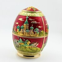 Wholesale Russian Eggs - Wholesale- Russian Castle Design Faberge Enamel Egg Toothpick Holder Random Style