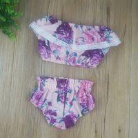 Wholesale Light Blouses - Wholesale 2017 Kids Girls Summer Clothes Baby 2 Pieces Clothing Toddler Flower Sets Children Ruffles Blouse Shorts Suit For 80-110cm