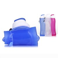 Wholesale school water bottles - Folding Water Bottle Silicone Drinking Student School Outdoor Camping Travel Foldable Portable Retractable Cup Collapsible Flask Sports