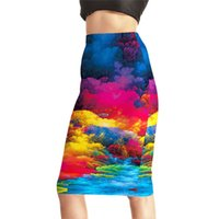 Wholesale Summer Female Slim Hip Skirt - Womens High Waist Digital Print Pencil Skirts Female Fashion Summer Colorful River Slim Sexy Package Hip Skirts 4XL