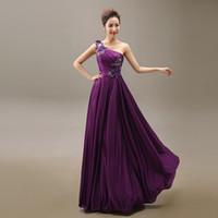 Wholesale Empire Waist One Shoulder Dress - Cheap Long Evening Dresses Flowers One Shoulder Chiffon Women E3547 Empire Waist Party Gown 2017
