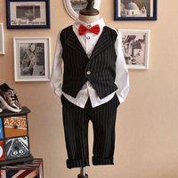 Wholesale Korean Suits Ties - New Preppy Style Boys Clothes Korean gentry Suits waistcoat vest white bow tie shirt long pants trousers stripe 2pcs set Kids Outfits A210