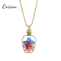 Wholesale Dried Flower Vases - Natural dried flower butterfly necklace vintage vase pendant necklace long beads chian living locket for women fashion jewelry