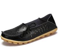 zapatos de enfermería de moda al por mayor-Tallas grandes 2017 del verano del ballet corte las mujeres zapatos de cuero genuino Mujer plana flexible enfermera del dedo del pie redondo Casual mocasín de la manera