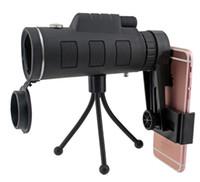 trípode cazado al por mayor-Telescopio monocular 40X60 teléfono clip trípode HD visión nocturna prisma alcance para la caza de escalada pesca con brújula 10pcs en la venta por menor