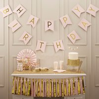 Atacado- Pastel Pink Happy Birthday Banner Garland Pendurado Gold Letters Photo Props Bunting Garland Wedding Decoration Party Event