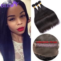 Hot Sale 360 ​​Lace Frontal Closure With Bundles Cabelo Humano Peruvian Straight Pre Plucked 360 Frontal Closure With Bundles