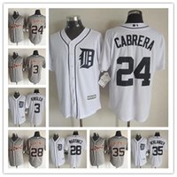 Wholesale Miguel Cabrera Tigers - Men's New Cool Base Detroit Tigers Jersey #3 Ian Kinsler #24 Miguel Cabrera #28 JD Martinez #35 Justin Verlander Stitched Baseball Jerseys