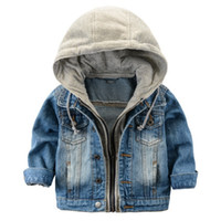Wholesale Girls Goose Down Coats - 2017 Children's Jacket Denim Boys Hooded Jean Jackets Girls Kids clothing baby coat Casual outerwear New Brand factory