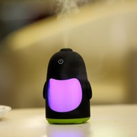 mini diffuseur cadeau achat en gros de-NOUVEAU Mini Penguin Pen USB Purificateur d'air ultrasonique Purificateur d'air Dry Protective Diffuser Atomizer Mist Maker DC 5V LED Light 150ML pour cadeau