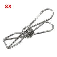 Wholesale Big Clothes Peg - 8Pcs Big Size Clothes Metal Wire Clips 8.5cm Hanger Pegs for Socks Underwear Towel Sheet