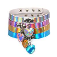 Wholesale Steel Collar Woman Slave - Rainbow Laser Love Heart Pendant PU Choker Necklace Collar Sub Slave Necklace for Women Statement Jewelry 162093