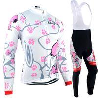 conjuntos de roupas de ciclismo para mulheres venda por atacado-BXIO Marca Top Venda de Inverno Velo Manga Comprida Ciclismo Jerseys Rosa Mulheres Roupas de Ciclismo Definir Anti Pilling Esporte Jersey E Terno de Queda BX-021
