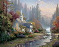 Wholesale Canvas Oil Painting Landscape Forest - Forest Chapel Thomas Kinkade Oil Paintings Art Wall Modern HD Print On Canvas Decoration No Frame