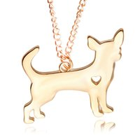 Wholesale Hot Selling Fre - Wholesale- Hot Sell! Cute Little Puppy Dog chihuahua Pendant Necklace Silver&Golden Plated Necklace women jewelry Present fre shiiping