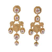 Wholesale Retro Cross Earrings - New Arrival Vintage Red&White Rose Big Cross Drop Earrings for Women Baroque Retro Bohemian Large Long Earrings Jewelry Free Shipping