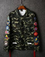 Wholesale Baby Badge - Spring and autumn with a thin BABY camouflage coat tide brand badge striped long sleeved jacket for men and women lovers kanye west pigalle