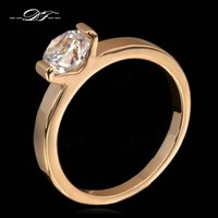 Wholesale Men Diamond Ring Designs - Classical Design CZ Diamond Wedding Rings Wholesale 18K Rose Gold Plated Fashion Cubic Zirconia engagement Jewelry For Men and Women DFR186