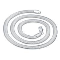 hebillas de 6mm al por mayor-ENVÍO GRATIS 6mm Hebilla Larga Collar de Serpiente de Los Hombres Joyería de Plata de Ley 925 Collares Hechos A Mano de Moda Regalo 20