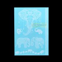 белая татуировка хны оптовых-Wholesale- 1PC Hot Flash Metallic Waterproof Tattoo Women White Ink Henna Lace WJ018 Elephant Wedding Bridal Henna Temporary Tattoo Sticker