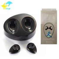 Wholesale Black Earpiece - Mini Twins True Wireless Bluetooth Stereo Headset Sport Headphone In-Ear Earphones Earbuds Earpieces TWS With Charging Socket for Smartphone