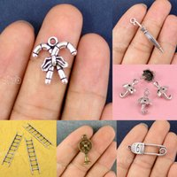 Wholesale Umbrella Charms - 60pcs-Antique Silver Bronze Safety Pin Fan Ladder Candy Cane 3D Umbrella Charms Pendant DIY Charm Jewelry