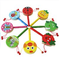 Wholesale Wholesale Children Rattle Drum - Wholesale- 1PC Baby Kids Children Shaking Wooden Rattle Drum Musical Hand Bell Drum Toy Early Childhood Educational Learning Rattles Toy