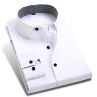 Wholesale Color Plus Formal Man Dress - Wholesale- 2017 New Spring Men Dress Shirts Patchwork Plaid Neck Long Sleeve Formal Business Pure Color Men Casual Shirt Plus Size XXL