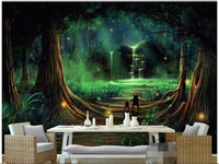 Wholesale Water Painting Photos - Wholesale- 3d wallpaper custom photo non-woven mural Forest waterfall water animals decoration painting bedroom wallpaper for walls 3d