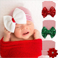 Wholesale Newborn Christmas Crochet Hat - Newborn Baby Crochet Bow Hats Girl Soft Knitting Hedging Caps with Big Sequins Bows Christmas Winter Xmas Warm Tire Cotton Cap 0-3M BH51