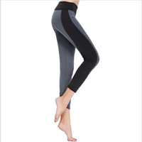 Wholesale Wholesale High Waisted Leggings - Wholesale- S-XL 2 colors Woman's Leggings Fashion Black Gray High Waisted Stretched Leggings Splice Workout Leggings