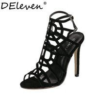 Wholesale Red Star Stilettos - Wholesale-Fashion Star Supermode Sexy Stiletto Gladiator Cut-outs High Heels Sandals Women's Slimmer Heel Party Shoes Solid Black US8.5