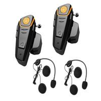 kask walkie talkies kulaklıklar toptan satış-2x800 m BT interkom bluetooth motosiklet kask interkom Kulaklık Motosiklet Interkom motosiklet walkie talkie Ile FM Radi