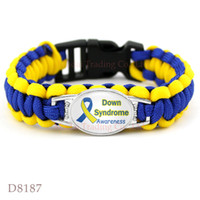 occident blue awareness ribbons - Down Syndrome Survival Pink Breast Cancer Fighter Hope Ribbon Awareness Paracord Bracelets Blue Yellow Black Outdoor Camping
