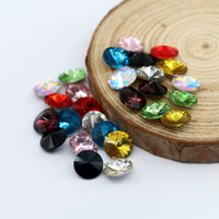 Wholesale Rivoli Jewelry - 6MM Glass Crystal Rivoli Fancy Stone Pointed Back Round Jewelry Stones Silver Foiled Gemstone 100pcs bag (10 Different Color Available)