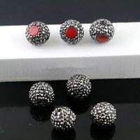 Оптовые 20Pcs Red Coral Druzy Connectors, Pave Rhinestone Loose Spacer Connector Beads Jewelry Making
