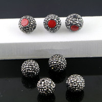 Wholesale Black Coral Loose Beads - Wholesale 20Pcs Red Coral Druzy Connectors, Pave Rhinestone Loose Spacer Connector Beads Jewelry Making