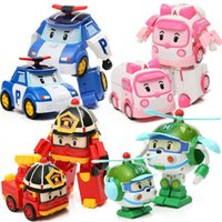 Wholesale Toy Police Cars Models - Big size Children cartoon police car Robocar poli toys robot transformer cars POPI Helly Amber Roy cartoon Anime model Kids Plastic toy