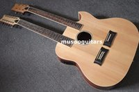 Wholesale Acoustic Double Neck - 6 12 String Acoustic Electric Double Neck Guitar with EQ and Bag
