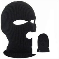 Wholesale face protection skull mask resale online - Designer Beanie Balaclava Hat For Mens Womens Cycling Skiing Full Face Mask Three Hole Covering Caps Knit Acrylic Adults