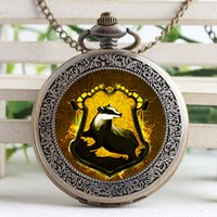 Wholesale Victorian Pocket Watch Pendant - Pocket Watch-Vintage Glass Cabochon Hufflepuff Pendant Victorian Hogwarts Watch With Chain Gift For Him