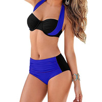 Wholesale Swimsuits Large - 2017 New Sexy Women Bikini Set Contrast Color Block Underwire Halter High Waist Bottom Beach Large Size Swimwear Swimsuit Bathing Suit