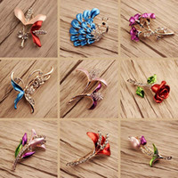 Wholesale Jewelry Craft China Free Shipping - 10pcs   lot Mix Style Enamel Painted National Wind Crystal Jewelry Brooches Pins For Jewelry Craft Gift Free Shipping