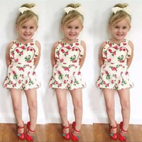 Wholesale Strawberry Baby Romper Cotton - INS Baby Strawberry Romper summer toddler kids Strawberry printed Climbing clothing girls cotton sleeveless jumpsuits C1830