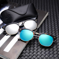 Wholesale Rimless Frames Grey - Brand Designer glass Sunglasses High Quality Metal Hinge Sunglasses Men Glasses Women Sun glasses UV400 51mm Unisex With free cases and box