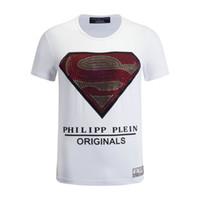 Wholesale Superman Mens - 2017 Fashion brand Man Casual T-shirt Men's short sleeves superman skeleton USA flag printing round collar T Shirt Mens Tops &Tees