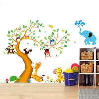 ingrosso albero da parete dei capretti-Adesivo aereo da parete Cartoon Animal Tree Wallpaper 3D Adesivo da parete in vinile per bambini vintage Decorazione per camerette Adesivo De Parede Poster
