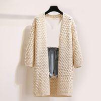 ingrosso donne gialle maglione cardigan-Cardigan maglione autunno donna Allentato stile coreano plus size Lanterna manica soprabito grigio kaki albicocca Colori gialli